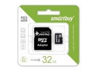 Smartbuy microSDHC 32GB Сlass 10 с адаптером SD