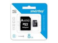 Smartbuy microSDHC 8GB Сlass 10 с адаптером SD
